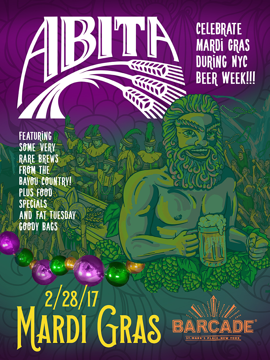 Madri Gras with Abita Brewing Co. (NYC Beer Week) — February 28, 2017 at Barcade®at St. Mark's Place in New York, NY
