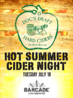 Doc's Draft Hard Cider Night — July 18, 2017 at Barcade® at St. Mark's Place in New York, NY