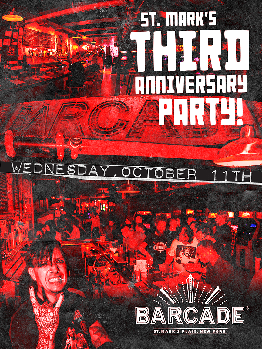 St. Mark's Third Anniversary Party — Oct. 11, 2017 at Barcade® in New York, N.Y.