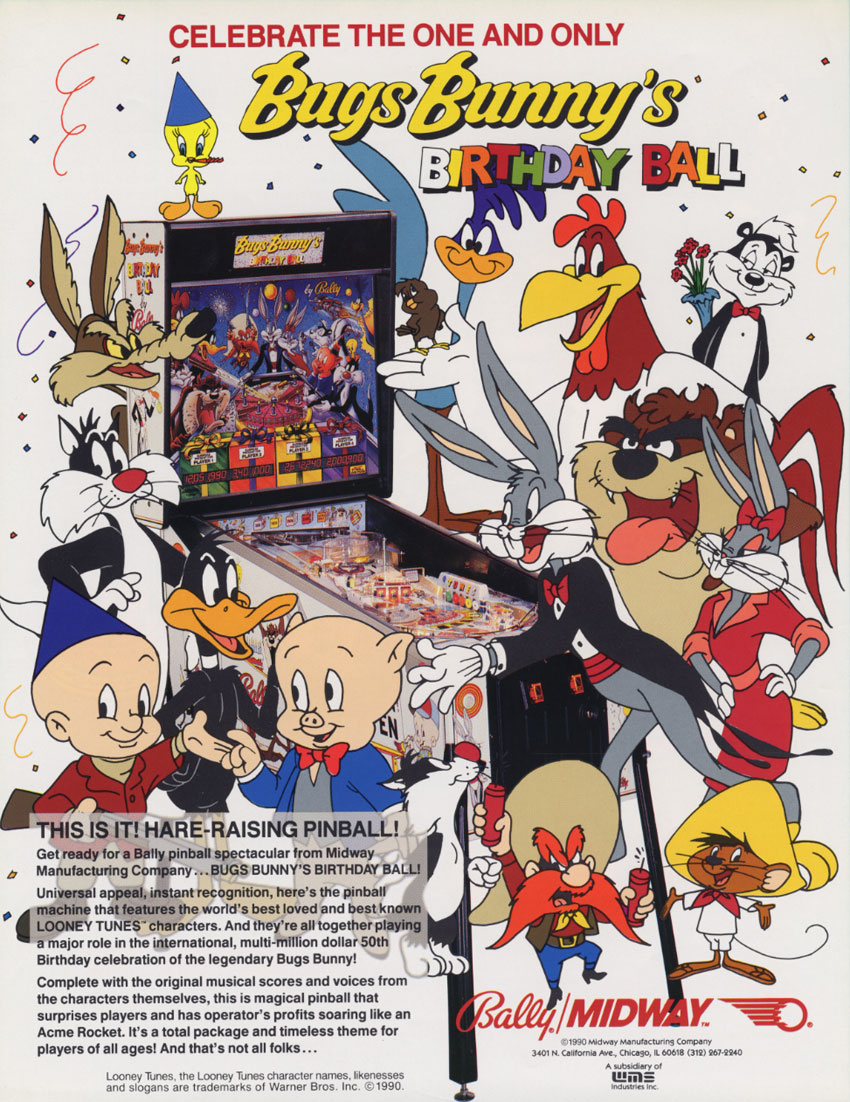 Bugs Bunny's Birthday Ball — 1991 at Barcade® in New York, NY | arcade video game flyer graphic