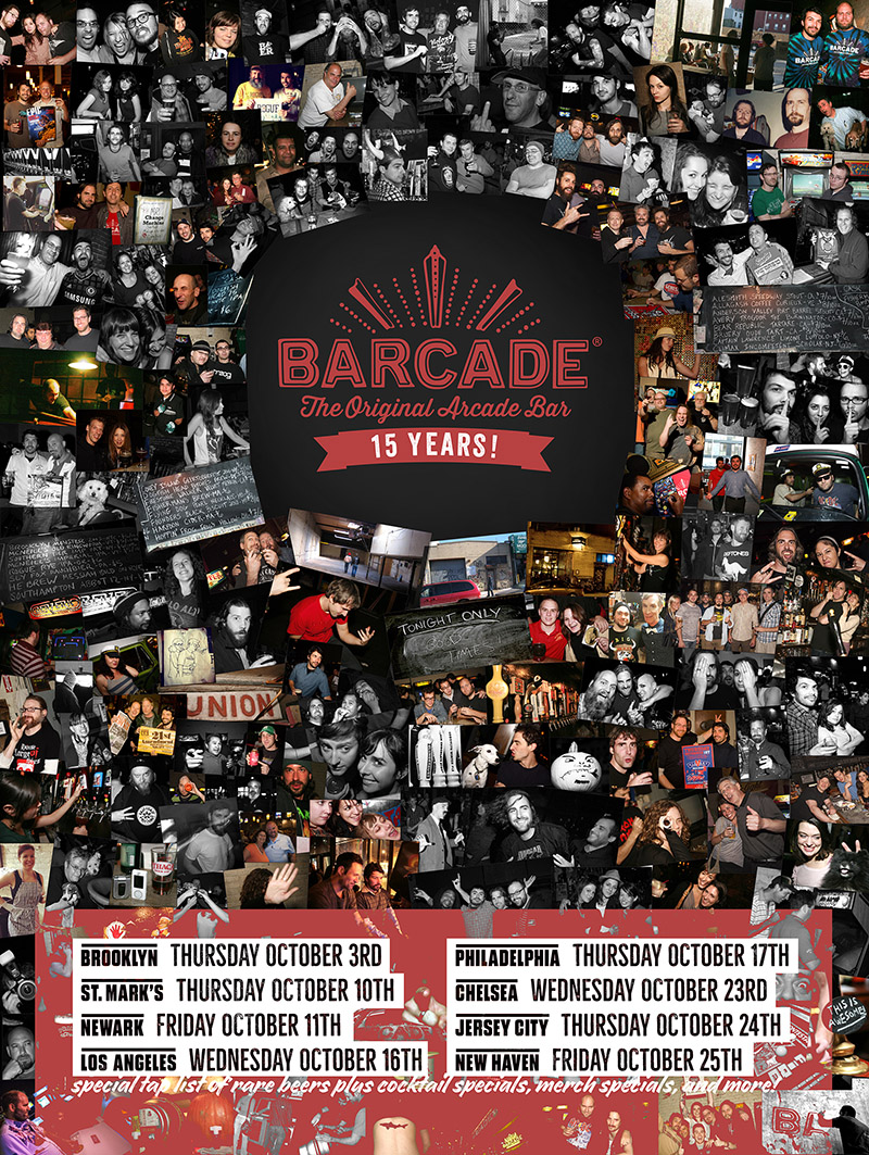 Barcade 15th Anniversary Celebration — October 10, 2019 at Barcade at St. Marks in New York, NY | poster